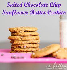 Vegan Salted Chocolate Chip Sunflower Butter Cookies via Ari's Menu