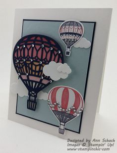 Stampin' Up!'s Lift Me Up Bundle was used to create an adorable card featuring hot air balloons that's perfect for a variety of occasions.