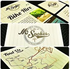 Branding of leaflets, business cards & other bits for a bike hire company by Dot England Design.