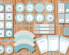 Kit imprimible para Babyshower con elefantes