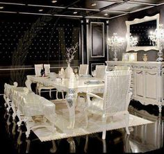 black and white modern victorian dining room