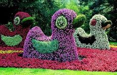 """Topiaries from the garden on the island of Mainau - Mainau is nicknamed """"The Flower Island,"""" and is the most popular tourist attraction on Lake Constance (a.k.a. the Bodensee) in Germany. The small island is about 3 miles from the city of Konstanz."""