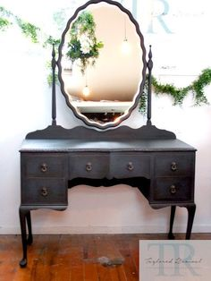 Antique Dressing table in Graphite Chalk Paint® | Commissioned Project by Annie Sloan Stockist Taylored Revival in New Zealand