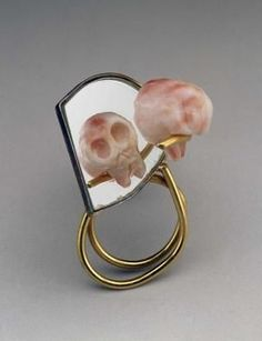 MANFRED BISCHOFF German, born 1947 René Descartes Ring 1998 Mirrored glass, coral, gold, and copper alloy