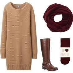 A fashion look from November 2014 featuring sweater dress, red tights and leather boots. Browse and shop related looks.