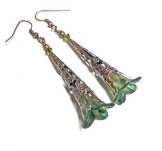 Jewelry Earrings Green Lucite Lily Flower by SpiritCatDesigns, $5.99