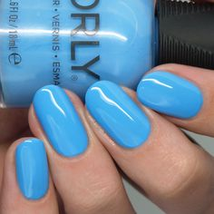 Bright neon blue creme nail polish Neon Nails, Blue Nails, Opi Collections, On October 3rd, Sally Hansen, Things That Bounce, Swatch, Manicure, Nail Polish