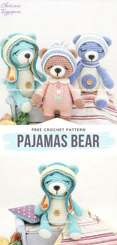 How to Crochet Pajamas Bear - - Delightful Bears need new friends who are ready to cuddle! We have decided that you should meet them right away. No matter if you want to make a crochet. Teddy Bear Patterns Free, Crochet Amigurumi Free Patterns, Crochet Animal Patterns, Stuffed Animal Patterns, Free Crochet, Crochet Teddy Bear Pattern Free, Crochet Dolls, Crochet Animals, Crocheted Toys