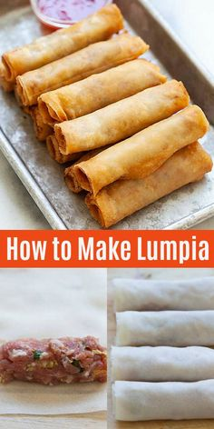 Learn how to make Lumpia with this easy and delicious recipe. Yields the best and crispiest lumpia with step-by-step recipe Egg Roll Recipes, Pork Recipes, Asian Recipes, Mexican Food Recipes, Cooking Recipes, Easy Filipino Recipes, Filipino Desserts, Rice Paper Recipes, Guam Recipes