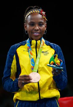 Bronze medalist Ingrit Valencia Victoria of Colombia poses during the medal ceremony for the Women's Fly (48-51kg) on Day 15 of the Rio 2016 Olympic Games at Riocentro - Pavilion 6 on August 20, 2016 in Rio de Janeiro, Brazil.