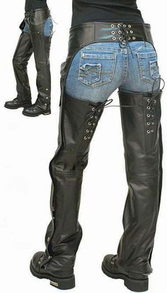Leather Chaps with Adjustable Lace Thigh