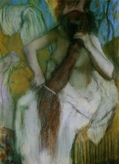 Femme se peignant. / Woman combing her hair. / By Edgar Degas.