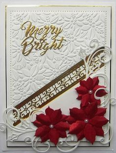 Image result for card using creative expressions contemporary poinsettia embossing folder