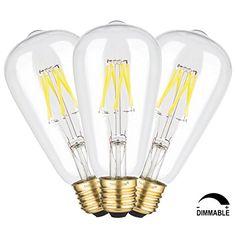 TAMAYKIM ST64 6W Regulable Antiguo de Edison Estilo Bombilla Filamento LED - 4000K Luz Blanca Neutra 650 Lúmenes - 6 Watts Consume - Equivalente 65W - Casquillo E27 - Brillo Ajustable - 360° Ángulo del Haz: Amazon.es: Iluminación