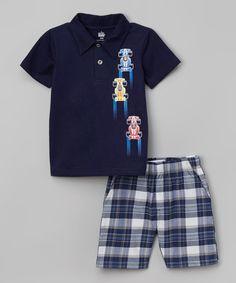 Kids Headquarters Navy Race Car Polo & Plaid Shorts - Infant & Boys | zulily