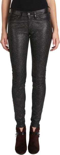 Rag And Bone Beaded Leather Hyde Pants on Wantering | What's the Skinny | womens leather skinny pants #womensskinnypants #womenspants #womensstyle #womensfashion #style #fashion #ragandbone #wantering http://www.wantering.com/womens-clothing-item/beaded-leather-hyde-pants/aguIj/