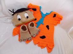 Fred Flinstone Inspired Costume/Fred Flinstone Hat/Baby Photo Prop Newborn to 12 Month Size-MADE TO Crochet Toddler, Crochet For Boys, Newborn Crochet, Halloween Crochet, Baby Halloween, Halloween Costumes For Kids, Crochet Baby Costumes, Crochet Baby Clothes, Crochet Photo Props