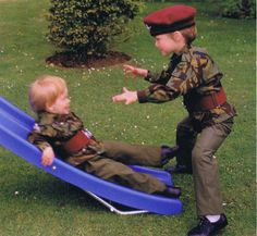 lovelydianaprincessofwales:    Prince William and Prince Harry playing together  source: (x)