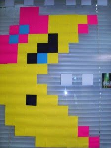 post it note pixel art could be useful as an interactive art wall