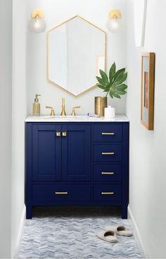 "Three Posts Aneira Full Cabinet 36"" Single Bathroom Vanity Set & Reviews   Wayfair #WhiteBathroomDecor Blue Bathroom Vanity, Navy Blue Bathrooms, Blue Vanity, Bathroom Faucets, Vanity Set, Navy Blue Bathroom Decor, Narrow Bathroom Vanities, Concrete Bathroom, Small Narrow Bathroom"