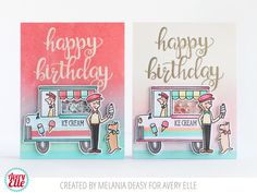Melania Deasy for Avery Elle The Scoop stamps and dies; Big Greetings stamps