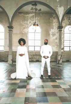 The bride, Solange Knowles and the groom, Alan Ferguson pose together in matching white attire for their New Orleans nuptials. // Photo by Rog Walker