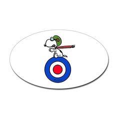 f2f28e48659e5 Amazon.com  CafePress - Flying Ace Snoopy - Oval Bumper Sticker
