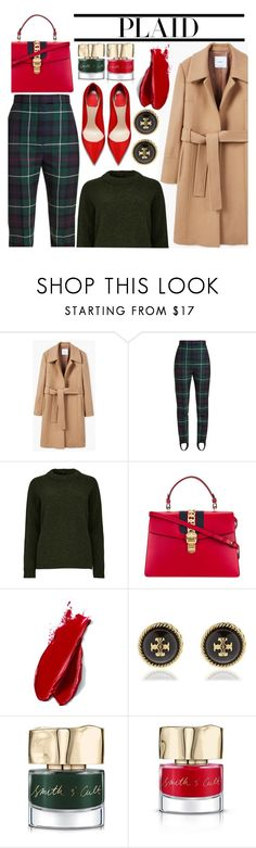 """""""PLAID"""" by trinirockstarr ❤ liked on Polyvore featuring MANGO, Burberry, Gucci, Balmain, Tory Burch, Smith & Cult and plaid"""