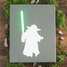 DIY Star Wars lighted canvas art