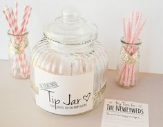 DIY Guest Book Alternative: Newlywed Advice ♥ DIY Newlywed 'TIP' Jar Guest Book Alternative Time to Complete: Less than 15 minutes Skill Level: Very Easy The Newly Wed Tip Jar is a fun guest book alternative which puts a unique spin The Wedding Date, Wedding Book, Diy Wedding, Wedding Day, Dream Wedding, Wedding Souvenir, 2017 Wedding, Wedding Rehearsal, Wedding Paper