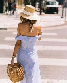 bamboo bag, off the shoulder frock #springstyle