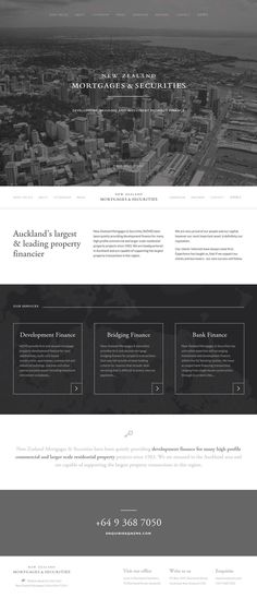Minimal Design Website; Inspiration; Name Site: NZMS; Development finance for many high profile commercial and larger scale residential property; Parallax.