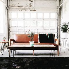 Mid-century sitting room in a converted garage