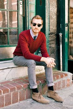 Skinny Jeans aren't my thing but the V-neck sweater is the style I am looking for.