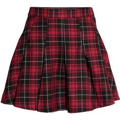 H&M Pleated skirt (202.705 VND) ❤ liked on Polyvore featuring skirts, bottoms, red, saias, red skirt, checkered skirt, checkerboard skirt, short skirts and short red skirt