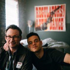 #ChristianSlater and #RamiMalek on the set of #MrRobot