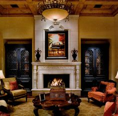 Awesome cabinets and fireplace