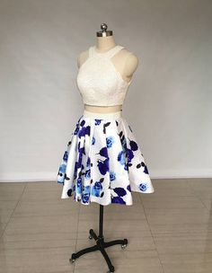 0b32bfaa58 Two Piece Ivory Floral Print Satin Short Homecoming Dress sold by Hot Lady.  Shop more products from Hot Lady on Storenvy