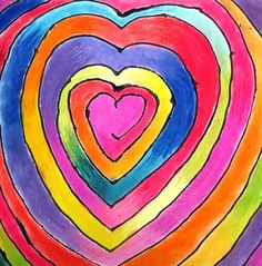 4th grade spiraled heart color wheels: Students worked with chalk pastels over white or black paper. The spiral lines were drawn first in pencil and then traced in black or white glue. The students were challenged with learning to blend chalks and learn the twelve colors of the color wheel. You might have noticed that they do not necessarily start with red. That is because a color wheel can spin. There really is not a beginning or end.