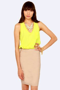 Check it out from Lulus.com! Take a tip from your posh predecessors and team up with the Chip Off the Color Block Highlighter Yellow and Beige skirt.