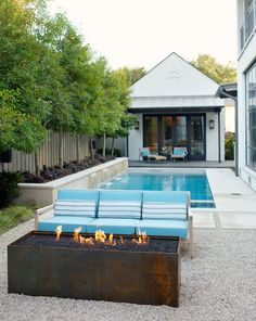 great modern alternative to a traditional backyard fire pit