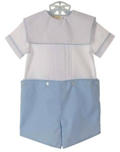 NEW Rosalina Blue and White Button on Shorts Set with Portrait Collar $40.00