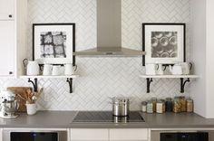Tile, herringbone backsplash