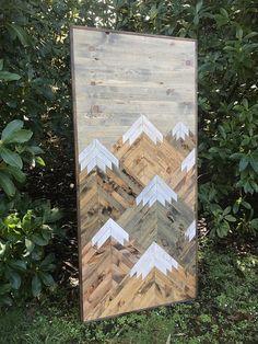 Vertical Eight Rustic Mountains Wood Wall Art Rustic Mountains Wood Wall Art By Bayocean Rustic Design Reclaimed Wood Wall Art, Wood Art, Rustic Walls, Rustic Wood, Wood Projects, Woodworking Projects, Furniture Projects, Mountain Designs, Mountain Decor
