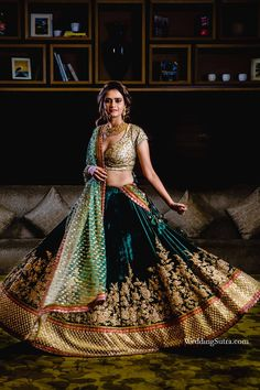 Bride-to-be Rihaa in a gorgeous freen velvet lehenga by Sabyasachi Mukherjee at WeddingSutra on Location Special Edition at Four Seasons hotel, Mumbai.  Photo Courtesy- Art Leaves a Mark