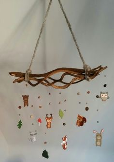 Diy woodland baby mobile