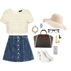 A fashion look from February 2015 featuring Saloni tops, AG Adriano Goldschmied skirts and Monki ankle booties. Browse and shop related looks.