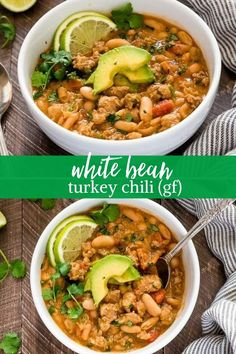 White Bean Turkey Chili is hearty healthy turkey chili with white beans fresh lime and plenty of spice! {GF} via White Bean Turkey Chili is hearty healthy turkey chili with white beans fresh lime and plenty of spice! {GF} via Flavor the Moments White Bean Turkey Chili, Ground Turkey Chili, No Bean Chili, Healthy Turkey Chili, Crockpot Turkey Chili, Crockpot Ground Turkey Recipes, Recipes With Ground Turkey, Ground Beef, Crockpot Healthy Chili