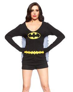 Batgirl Caped Adult Romper