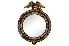 "Vintage Giltwood Convex Mirror with Bullet Motif and  Eagle,  18.5""Lx3""Wx25""H.  Condition Very Good, Little Wear   $695"